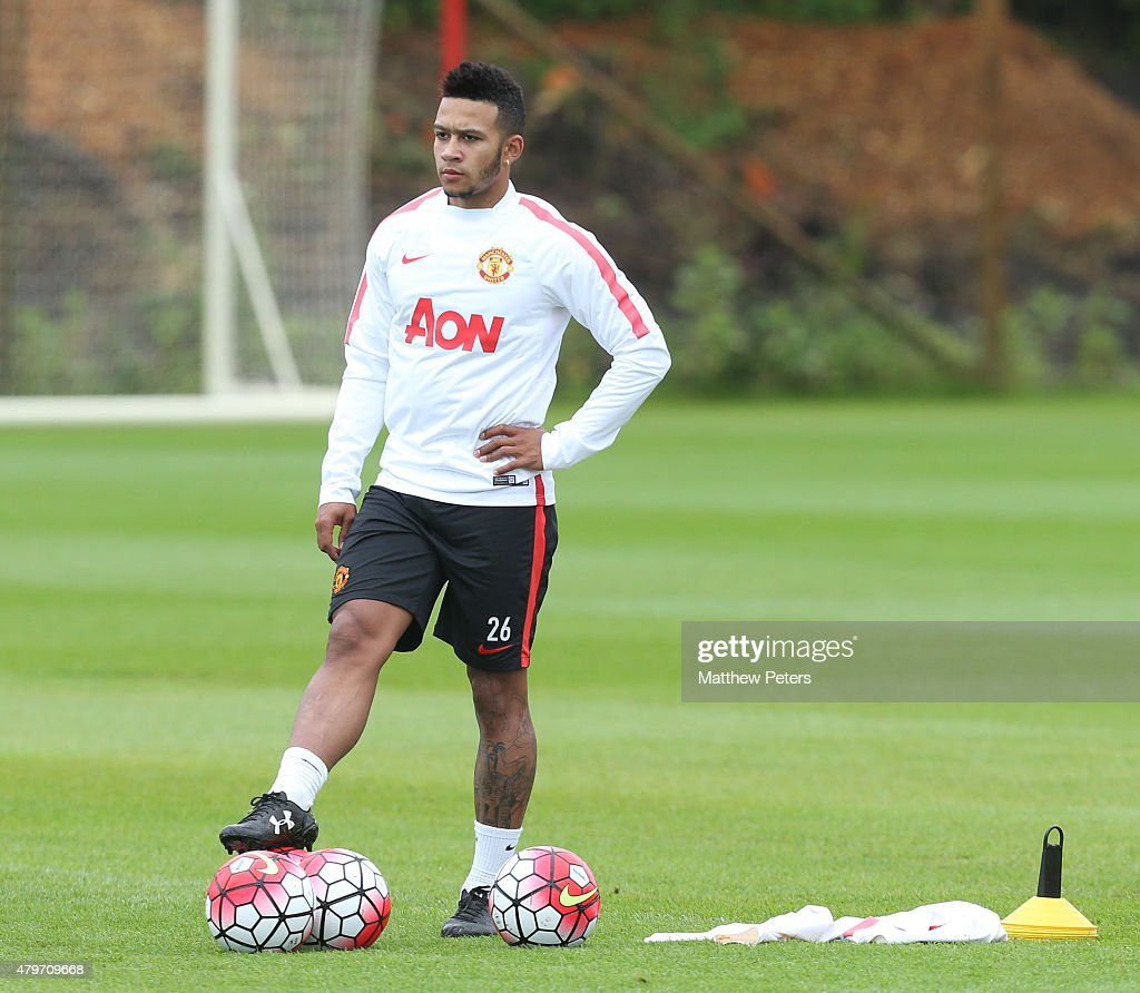 Memphis Depay's first Manchester United Training Session : News Photo