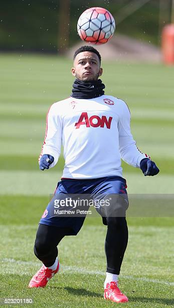 Memphis Depay of Manchester United in action during a first team training session at Aon Training Complex on April 22 2016 in Manchester England
