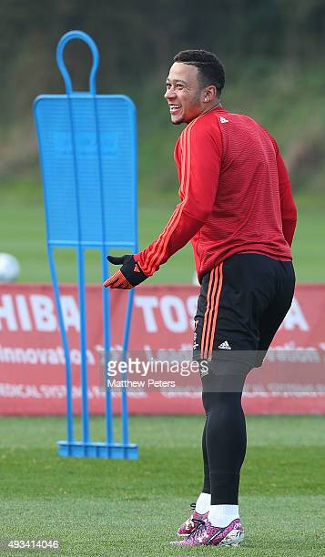 Memphis Depay of Manchester United in action during a first team training session, ahead of their UEFA Champions League Group B match against CSKA...
