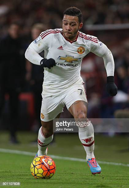 Memphis Depay of Manchester United in action during the Barclays Premier League match between AFC Bournemouth and Manchester United at Vitality...
