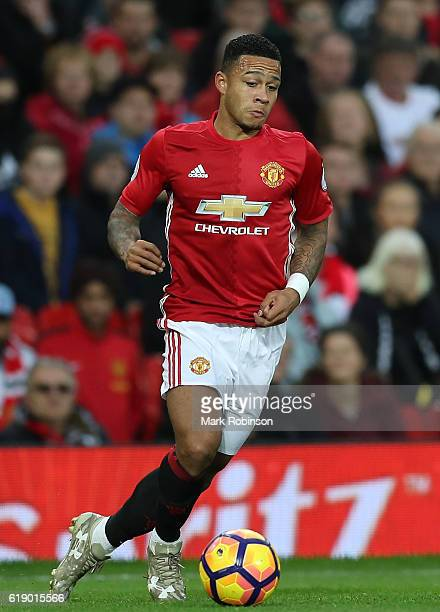 Memphis Depay of Manchester United in action during the Premier League match between Manchester United and Burnley at Old Trafford on October 29 2016...