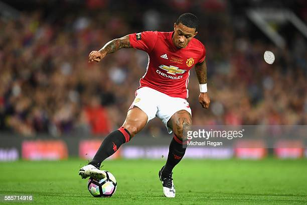 Memphis Depay of Manchester United in action during the Wayne Rooney Testimonial match between Manchester United and Everton at Old Trafford on...