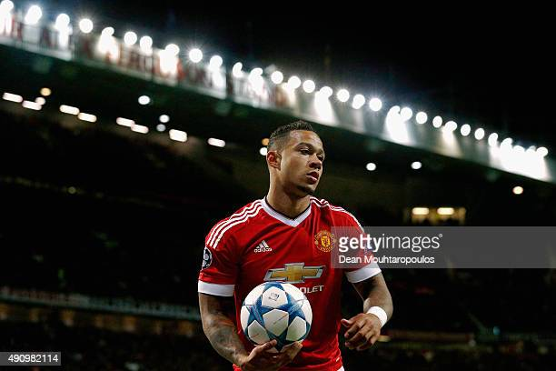 Memphis Depay of Manchester United looks on during the UEFA Champions League Group B match between Manchester United FC and VfL Wolfsburg at Old...