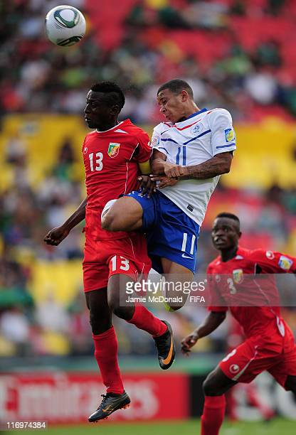 Memphis Depay of Netherlands battles with Glorie Mayanith of Congo during the FIFA U17 World Cup group A match between Congo and Netherlands at the...