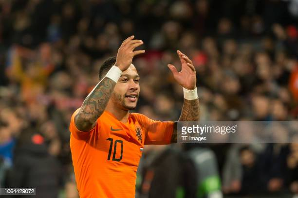 Memphis Depay of Netherlands celebrates after scoring his team`s second goal during the UEFA Nations League A group one match between Netherlands and...