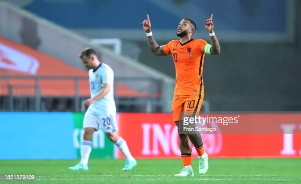 Memphis Depay of Netherlands celebrates scoring a goal during the international friendly match between Netherlands and Scotland at Estadio Algarve on...