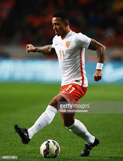 Memphis Depay of Netherlands in action during the international friendly match between the Netherlands and Spain held at Amsterdam Arena on March 31...