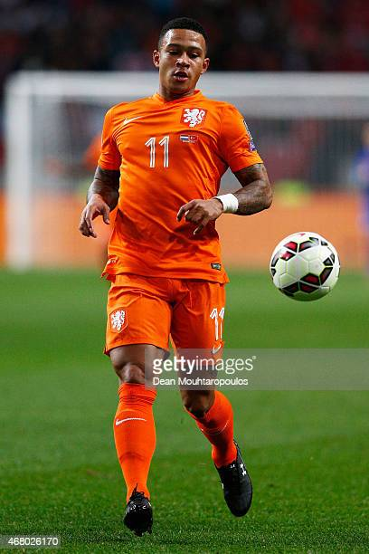 Memphis Depay of Netherlands in action during the UEFA EURO 2016 qualifier match bewteen the Netherlands and Turkey held at Amsterdam Arena on March...