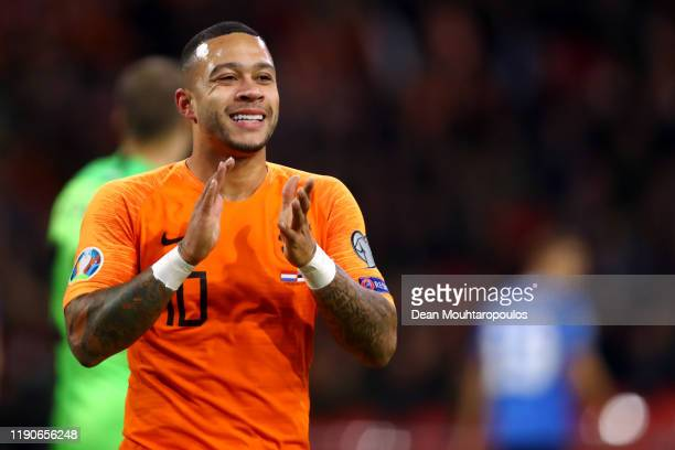 Memphis Depay of Netherlands reacts to a missed chance on goal during the UEFA Euro 2020 Qualifier between The Netherlands and Estonia on November...