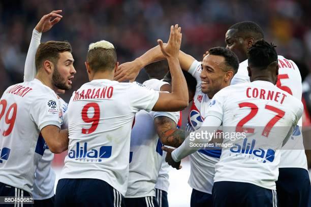 Memphis Depay of Olympique Lyon celebrates 04 with Lucas Tousart of Olympique Lyon Mariano Diaz of Olympique Lyon Maxwel Cornet of Olympique Lyon...