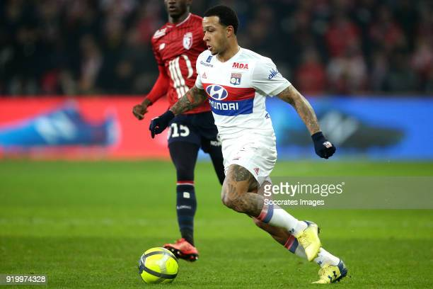 Memphis Depay of Olympique Lyon during the French League 1 match between Lille v Olympique Lyon at the Stade Pierre Mauroy on February 18 2018 in...