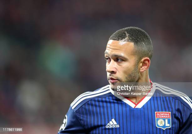 Memphis Depay of Olympique Lyon during the UEFA Champions League group G match between RB Leipzig and Olympique Lyon at Red Bull Arena on October 02,...