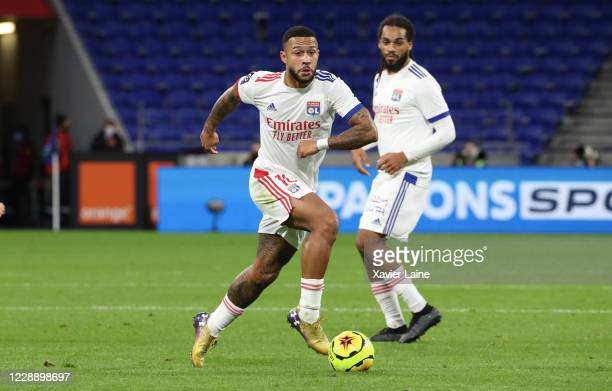 Memphis Depay of Olympique Lyon in action during the Ligue 1 match between Olympique Lyon and Olympique Marseille at Groupama Stadium on October 4,...