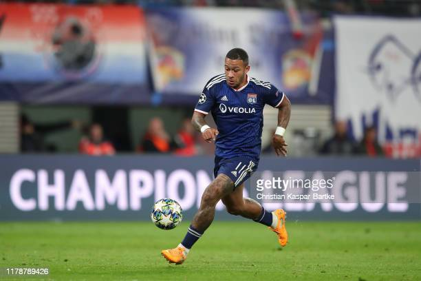 Memphis Depay of Olympique Lyon in action during the UEFA Champions League group G match between RB Leipzig and Olympique Lyon at Red Bull Arena on...
