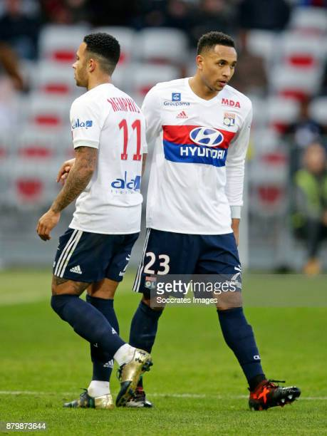 Memphis Depay of Olympique Lyon Kenny Tete of Olympique Lyon during the French League 1 match between Nice v Olympique Lyon at the Allianz Riviera on...