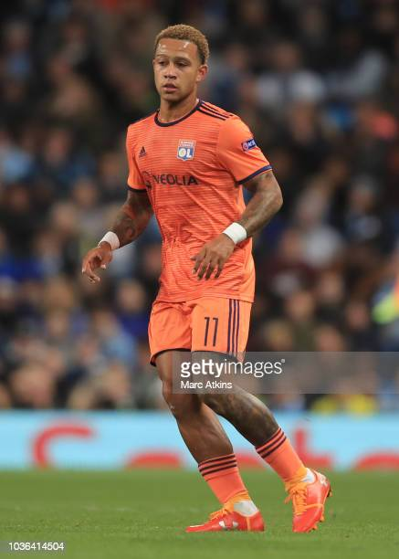 Memphis Depay of Olympique Lyonaise during the Group F match of the UEFA Champions League between Manchester City and Olympique Lyonnais at Etihad...