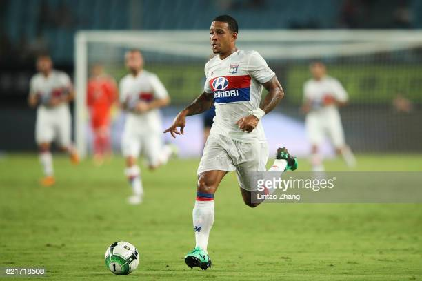 Memphis Depay of Olympique Lyonnais in action during the 2017 International Champions Cup China match between Olympique Lyonnais and FC...
