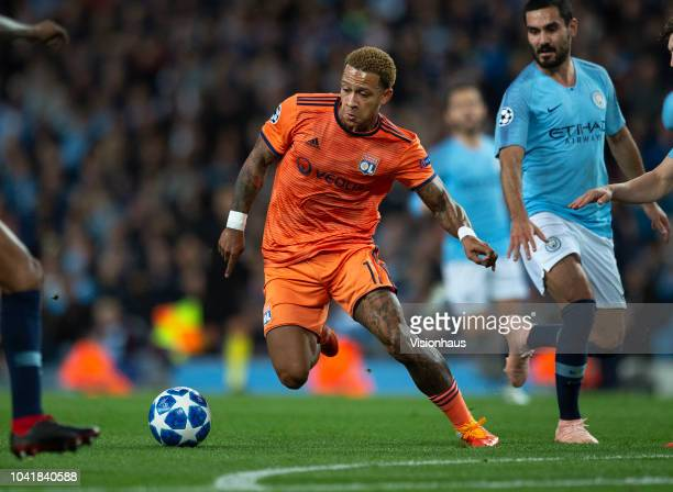 Memphis Depay of Olympique Lyonnais in action during the Group F match of the UEFA Champions League between Manchester City and Olympique Lyonnais at...