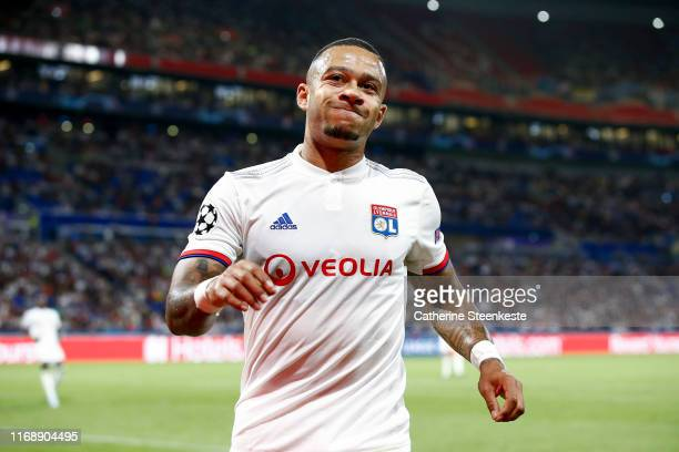 Memphis Depay of Olympique Lyonnais reacts after a play during the UEFA Champions League group G match between Olympique Lyon and Zenit St....