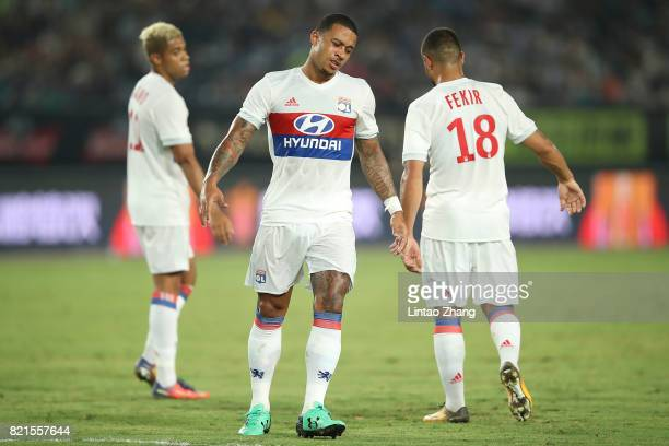 Memphis Depay of Olympique Lyonnais reacts during the 2017 International Champions Cup China match between Olympique Lyonnais and FC Internationale...