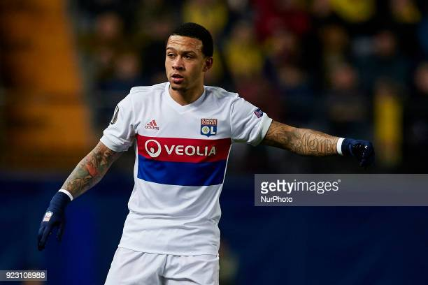 Memphis Depay of Olympique Lyonnais reacts during the UEFA Europa League round of 32 second leg match between Villarreal CF and Olympique Lyonnais at...