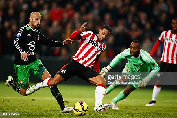 Memphis Depay of PSV Eindhoven shoots ands scores his teams winning goal in the final minute of the game during the Eredivisie match between PSV...