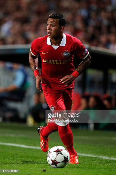 Memphis Depay of PSV in action during the UEFA Champions League Playoff First Leg match between PSV Eindhoven and AC Milan at PSV Stadion on August...