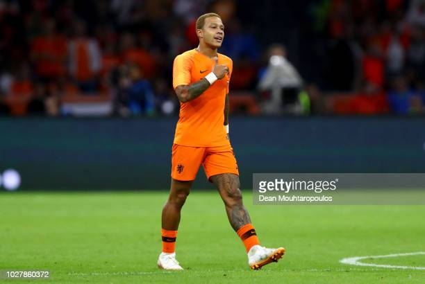 Memphis Depay of the Netherlands celebrates after scoring his team's first goal during the International Friendly match between Netherlands and Peru...