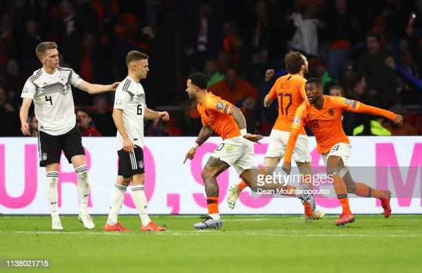 Memphis Depay of the Netherlands celebrates after scoring his team's second goal during the 2020 UEFA European Championships Group C qualifying match...
