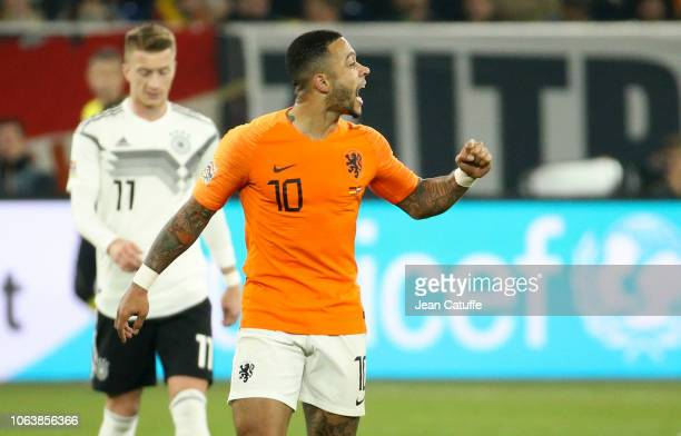 Memphis Depay of the Netherlands celebrates his goal during the UEFA Nations League A group one match between Germany and Netherlands at VeltinsArena...