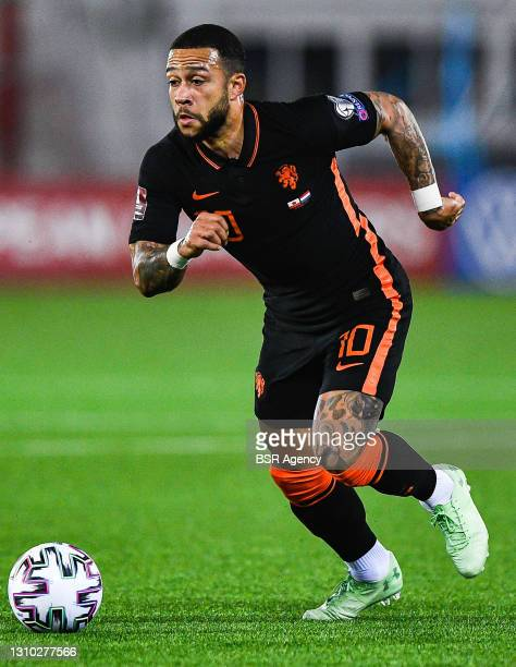 Memphis Depay of the Netherlands during the FIFA World Cup 2022 Qatar Qualifier match between Gibraltar and Netherlands at Victoria Stadium on March...