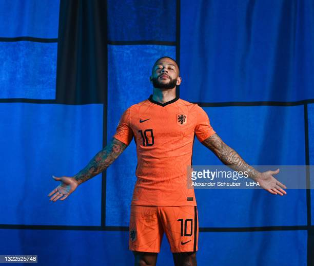 Memphis Depay of the Netherlands poses during the official UEFA Euro 2020 media access day on June 07, 2021 in Zeist, Netherlands.