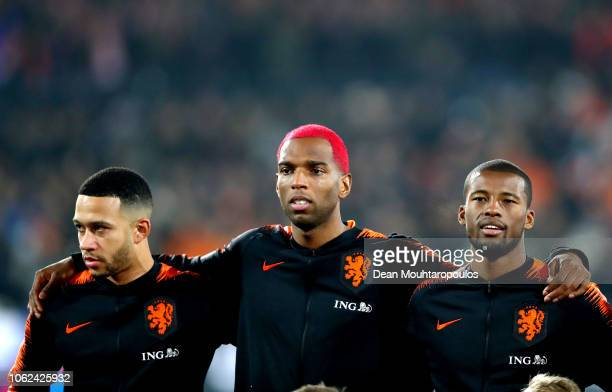 Memphis Depay of the Netherlands Ryan Babel of the Netherlands and Georginio Wijnaldum of the Netherlands line up prior to the UEFA Nations League...