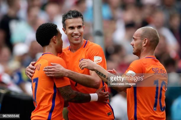 Memphis Depay Robin van Persie Wesley Sneijder during the Dirk Kuyt Testimonial at the Feyenoord Stadium on May 27 2018 in Rotterdam Netherlands