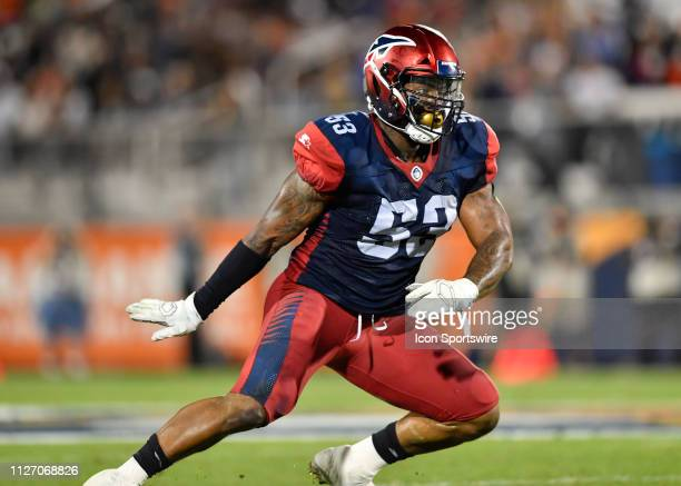 Memphis Express linebacker Drew Jackson during the first half of an AAF game between Memphis Express and the Orlando Apollos on February 23 at...