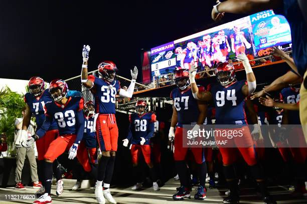 Memphis Express players prepare to take the field before an Alliance of American Football game against the Orlando Apollos on February 23 2019 at...