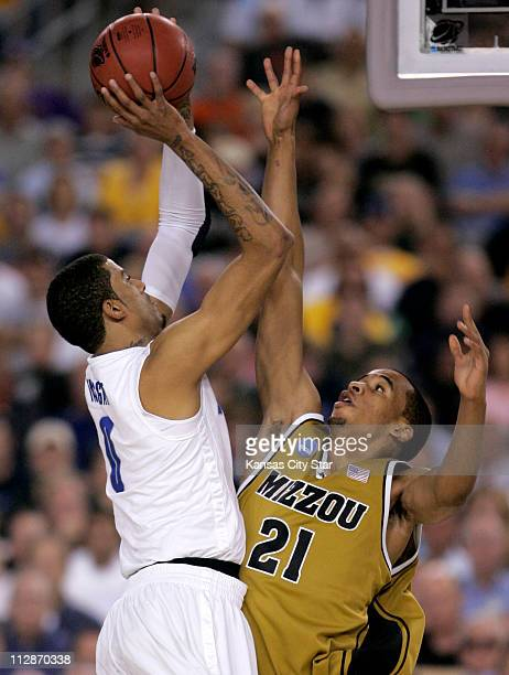 Memphis forward Shawn Taggart tried to get a shot as Missouri forward Laurence Bowers defended during an NCAA men's college basketball tournament...