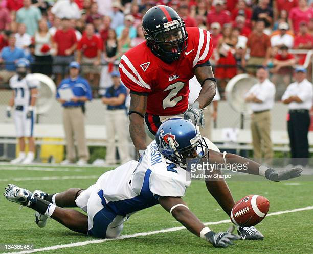 Memphis free safety Brandon Patterson knocks away a pass from Ole Miss wide receiver Mike Wallace at VaughtHeminway Stadium on September 3 2006