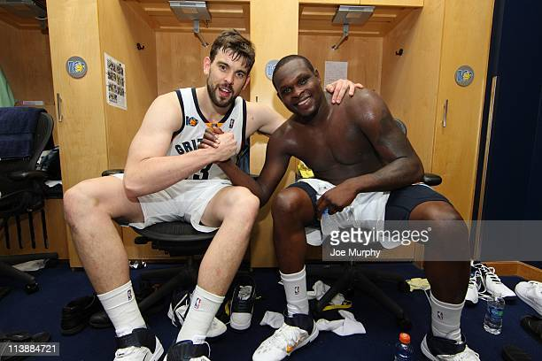 Memphis Grizzlies center Marc Gasol and Memphis Grizzlies power forward Zach Randolph are seen in a dress room during the game against the San...