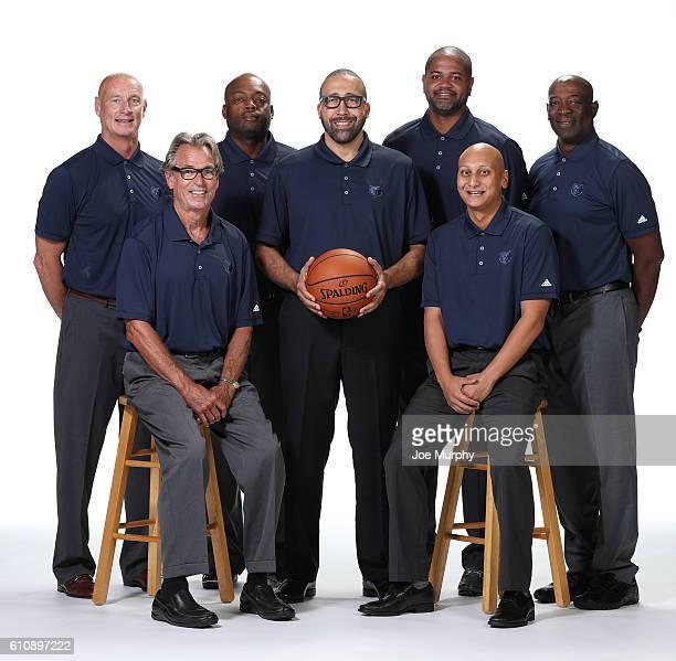 Memphis Grizzlies coaches Bob Bender Bob Thate Nick Van Exel head coach David Fizdale JB Bickerstaff Adam Mazarei Keith Smart pose for a portrait...