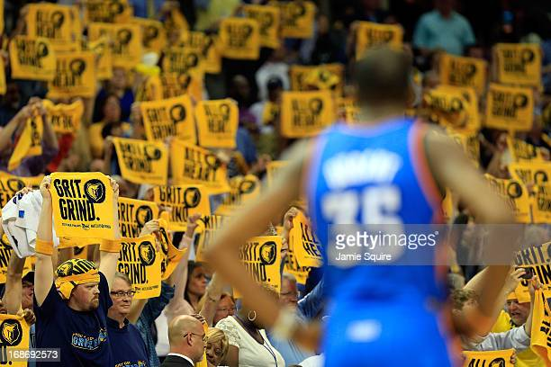 Memphis Grizzlies fans display rally towels during Game Four of the Western Conference Semifinals of the 2013 NBA Playoffs against Kevin Durant and...