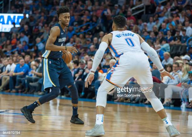 Memphis Grizzlies Guard Kobi Simmons looking for a play while Oklahoma City Thunder Guard Russell Westbrook plays defense on April 11, 2018 at...