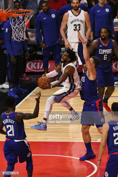 Memphis Grizzlies Guard Mike Conley goes up for a layup during an NBA game between the Memphis Grizzlies and the Los Angeles Clippers on November 4...