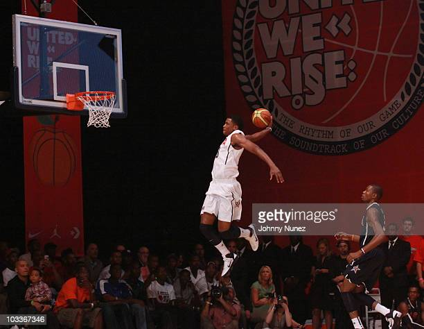 Memphis Grizzlies player Rudy Gay slam dunks the basketball during the USA Basketball showcase game at the 2010 World Basketball Festival Tip Off at...