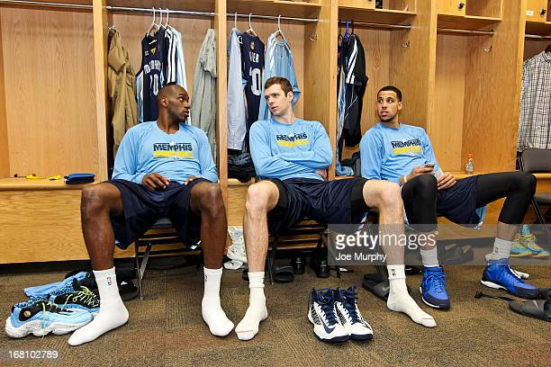 Memphis Grizzlies players from left Quincy Pondexter Jon Leuer and Austin Daye get ready in the locker room before playing the Oklahoma City Thunder...