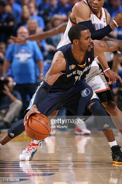 Memphis Grizzlies point guard Mike Conley drives to the basket in Game one of the Western Conference Semifinals against the Oklahoma City Thunder in...