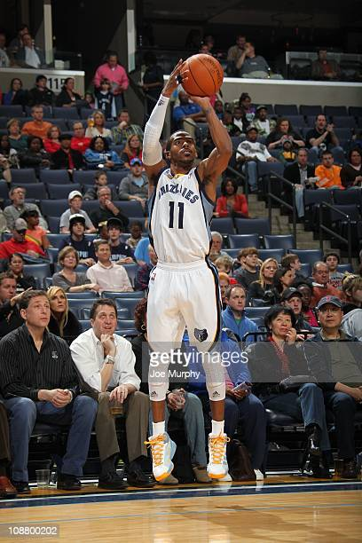 Memphis Grizzlies point guard Mike Conley goes for a jump shot during the game against the Washington Wizards on January 29 2011 at FedExForum in...