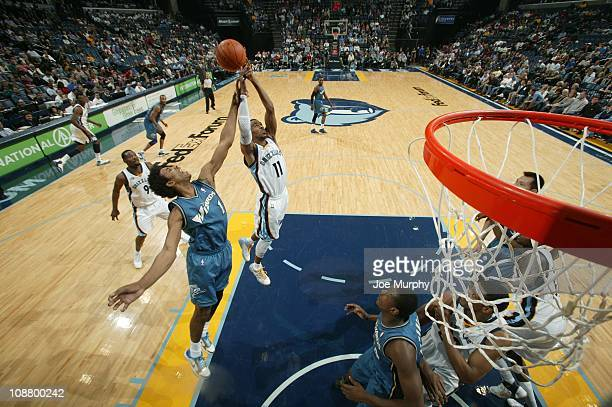 Memphis Grizzlies point guard Mike Conley goes to the basket during the game against the Washington Wizards on January 29 2011 at FedExForum in...