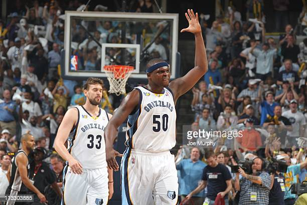 Memphis Grizzlies power forward Zach Randolph and Memphis Grizzlies center Marc Gasol react during an action against the San Antonio Spurs in Game...