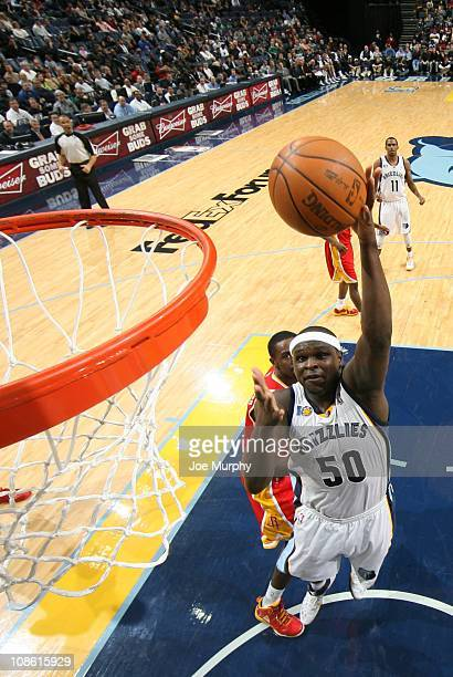 Memphis Grizzlies power forward Zach Randolph goes to the basket during the game against the Houston Rockets on January 21 2011 at FedExForum in...